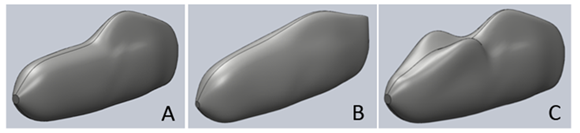 SolidWorks models of three fairing concepts, 3 is a bit out there, with the fairing mold around the riders knees.